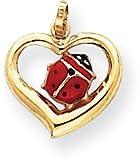 Enamel Ladybug in Heart Charm, 14K Yellow Gold