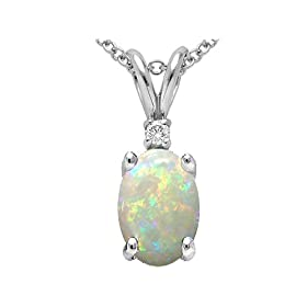 1.02 cttw Genuine Opal and Diamond Pendant in 14k White Gold LIFETIME WARRANTY