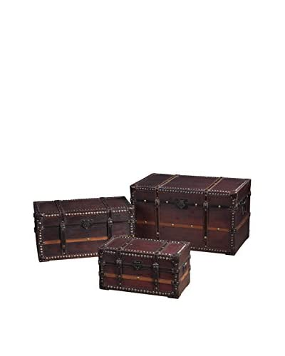 Set of 3 Traveler's Steam Trunks, Brown