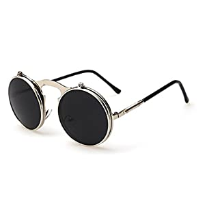 GodBless Unisex Retro Metal Steam Flip Fashion Sunglasses(K2)