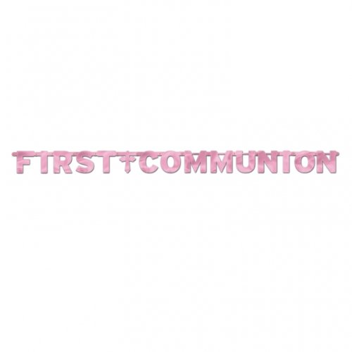 First Communion Banner Metallic Pink Jointed 8ft