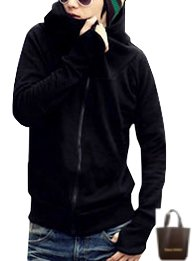 (アーバンセレクト) Urban Select パーカー メンズ おしゃれ ブランド 春 ボーダー ホワイト 大きいサイズ AI16-28 (エコバッグセット) (L(M相当), ブラック)