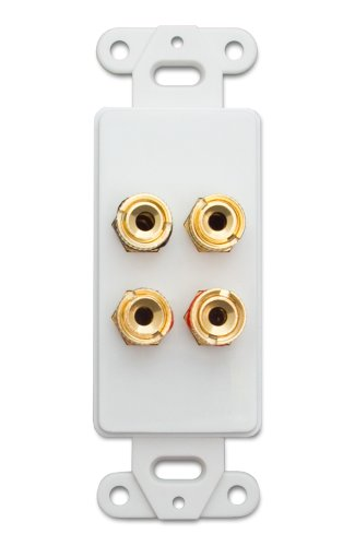 Cable Decora Wall Plate Insert White 4 Banana Plug Binding Posts For 2 Speakers (845-301-4002)