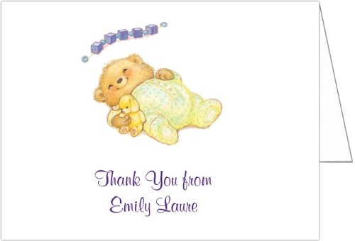 Sleeping Cutie Yellow Baby Thank You Cards - Set of 20