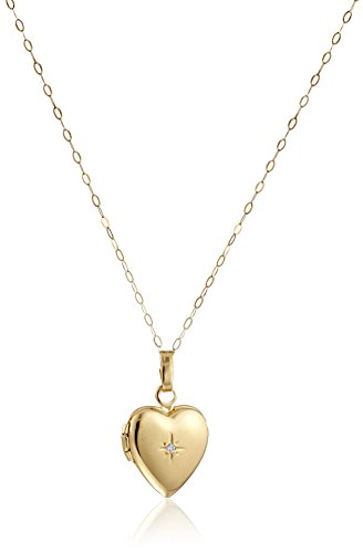 14k-Yellow-Gold-Childs-Heart-Locket-with-Diamond-Pendant-Necklace-13