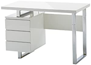 Mister meubles bureau design carl i coloris blanc laqu for Meuble bureau amazon