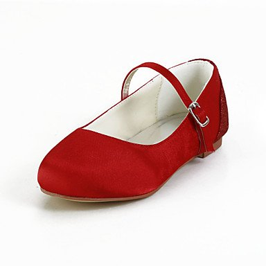 Compact Satin Flat Heel Closed-toes Flats with Buckle Flower Girls Shoes(More Colors)