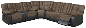 AC Pacific David Dual Reclining Sectional Sofa and Loveseat, Mocha Brown/Dark Brown