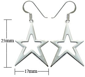 Silver earrings - Cut out STAR design - Beautifully designed and hand polished to a very high jewellery standard. delicately packed in a lovely velvet pouch. You can buy the matching pendant also: see menu below