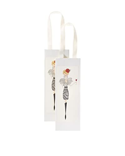 S.E. Hagarman Set of 2 Wine Glitzy Gift Bags, Zebra Print Dress Gal