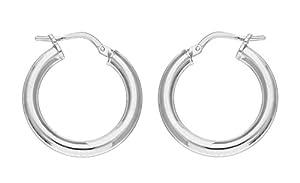 Adara Silver Plain Hoop Earrings