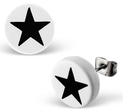 Pair of Large 1cm (10mm) Round Disc Stud Earrings - White and Black Star Design - Plastic Studs with Silver Stainless Steel Backs (will not tarnish/fade) Supplied in Gift Pouch