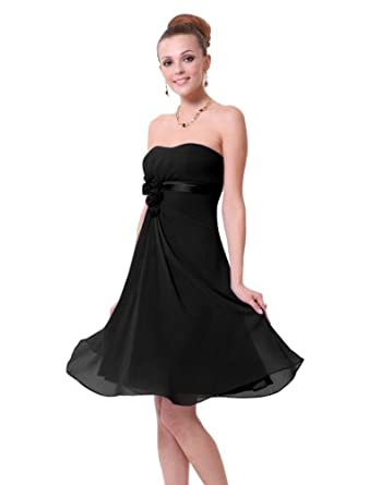 HE03538BK06, Black, 4US, Ever Pretty Strapless Dresses Party 03538