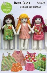 Olive Ann Designs Patterns Best Buds Doll And Doll Clothes; 2 Items/Order