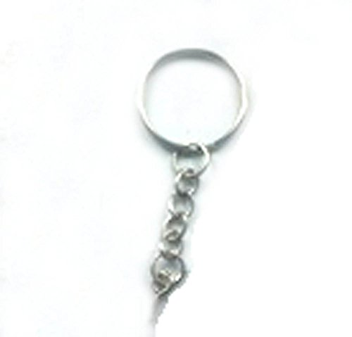 50 Silver Tone Round 24mm Split Key Ring Keychain W/attached Extend Chain Eye Screw Eye Pin Bails Top Drilled Connectors Pendant Bail (Key Chain Supplies compare prices)
