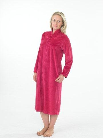 Ladies Soft Velour Zip Front Dressing Gown Robe Pink or Blue Sizes10 ...