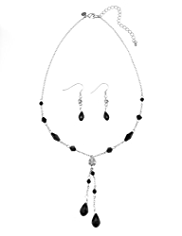 M&S Collection Multi-Faceted Diamanté Y Necklace & Earrings Set