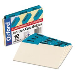 * Laminated Tab Index Card Guides, Monthly, 1/3 Tab, Manila, 4 x 6, 12/Set