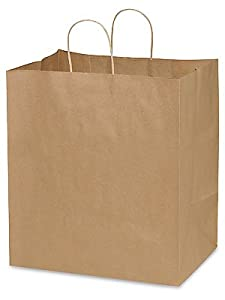 Take Out Kraft Paper Shopping Bags 14 x 10 x 15 1/2""