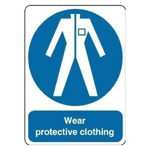 P1483 WEAR PROTECTIVE CLOTHING WARNING SAFETY SIGN POSTER PRINT