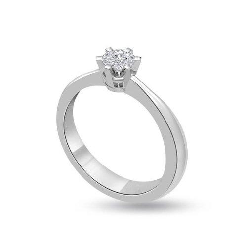 0.30ct G/SI1 verlobungsring diamant für damen. Brillantschliff Solitär diamant in 18kt weissgold schenken