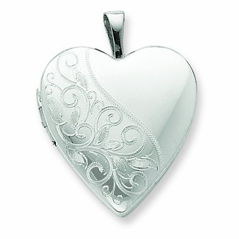 Sterling Silver 20mm Swirl & Polished Heart Locket