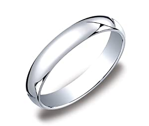 Men's 10k White Gold 4mm Traditional Plain Wedding Band, Size 10