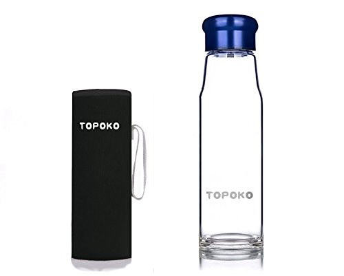 TOPOKO 18.5OZ Top Level Quality Stylish Environmental Borosilicate Glass Water Bottle with Colorful Nylon Sleeve (Navy) (Ice Fishing Basket compare prices)