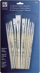 Bulk Buy: Loew-Cornell Short Handle Nylon Brush Set 12/Pkg-White (2-Pack)