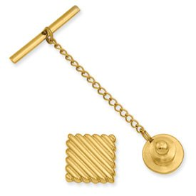 Gold-plated Square Tie Tack - JewelryWeb