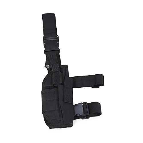 INDEPMAN Tactical Hand Gun Drop Leg Thigh Holster Adjustable Nylon Pistol Pouch Bag (Black) (Under Steering Wheel Gun Holder compare prices)