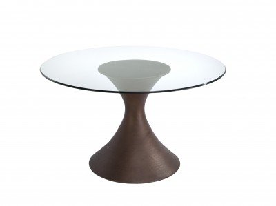 Cheap Brownstone Furniture Casablanca Glass Top Dining Table (CA54DIA, CA303B)