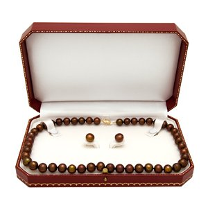 Freshwater Chocolate Pearl Necklace and stud earring set 9-10mm. 14kt Gold clasp SET-581Y
