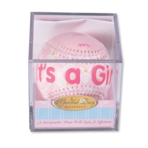 """IT'S A GIRL"" Baseball -BIRTH ANNOUNCEMENT/Keepsake/GIFT/Pink - INCLUDES DISPLAY BOX/Shower/CHRISTENING/NEW BABY GIFT 3"" Diameter"