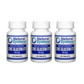 Natural Systems 3 Pack Zinc Gluconate 50 Mg 3X100 Tablets Immune Prostate Health