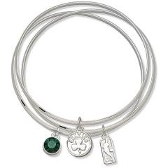 NBA Officially Licensed Boston Celtics Bangle Bracelet Set W/ Green Crystal