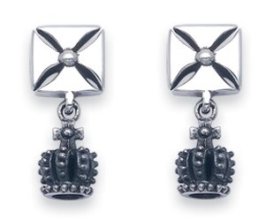 Sterling Silver Maltese Cross with Dangling Crown Stud Earrings. A Majestic Royal Design.