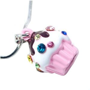 Adorable Juicy Inspired Small Pink Cupcake w/ Frosting and Sparkling Rainbow Crystal Sprinkles Necklace