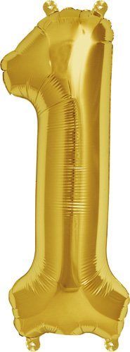 16 inch Number 1 - Gold Air-Filled Foil Balloon