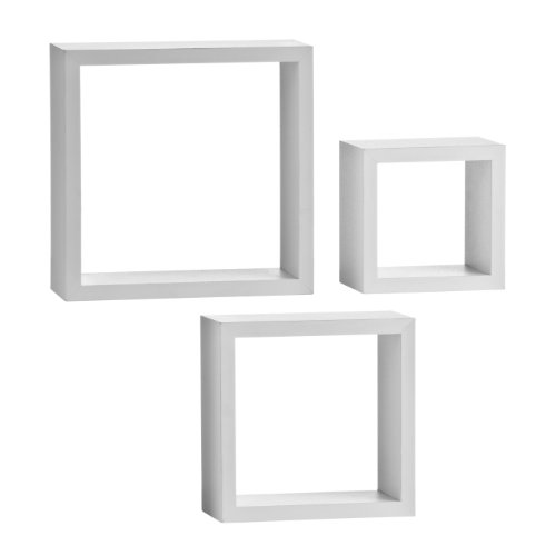 Premier Housewares Wall Cubes, Set of 3, White