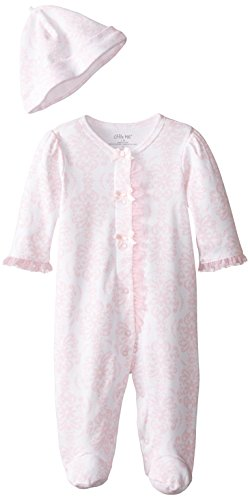Little Me Baby-Girls Newborn Damask Scroll Footie and Hat, Pink/Multi, 3 Months