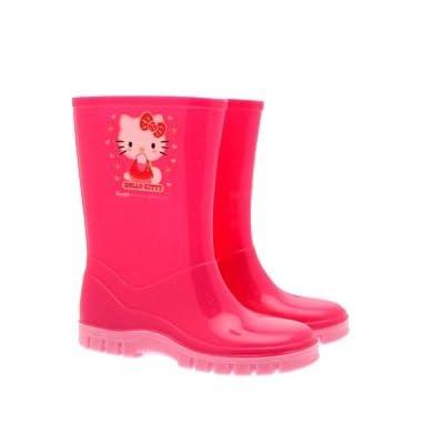 Hello Kitty Wellington Boots Girls Kids Rain Snow Pink Glitter Wellies Shoes Junior Sizes 6 - 12
