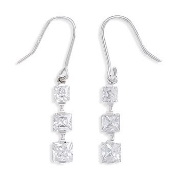 Rhodium Plated Graduated Square CZ Earrings on French Wire