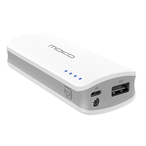 MoKo Caricabatterie Portatile da 6000mAh Batteria Compatta Esterna Ultra-alta densità con la torcia elettrica incorporata per Fire tablets e altri dispositivi mobili, BIANCO