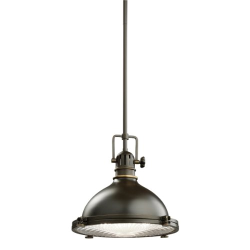 B001EGPFP4 Kichler Lighting 2665OZ 1-Light 100-Watt Incandescent Mini Pendant with Fresnel Lens, Old Bronze