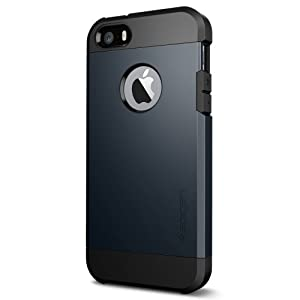 iPhone 5S Case, Spigen Tough Armor Case for iPhone 5/5S - Retail Packaging - Metal Slate (SGP10490)