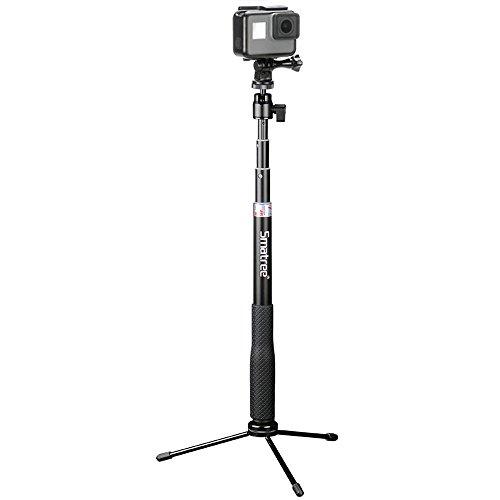 Smatree SmaPole QS-2自撮棒 GoPro Hero5 Session、Hero 5/4/3+/3 Nikon KeyMission 360、KeyMission 170 1/4ネジ穴コンパクトカメラも及び スマートフォン iphone android xperia など対応自撮棒 伸縮自在 防水(三脚付き)