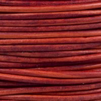 "Natural Dye Red Round Leather Cord 1Mm (1/32"") X 10 M (10.93 Yds)"