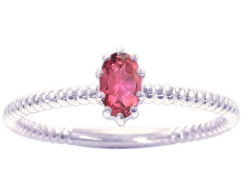 14K White Gold Petite Oval Gemstone Solitaire Stackable Ring-Pink Tourmaline, size7.5