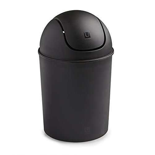 Umbra Mini Waste Can, 1-1/2 Gallon with Swing Lid, Black (Bathroom Trash Can With Lid compare prices)